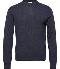 m. merino sweater gebreide trui met ronde kraag blauw filippa k