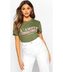 l'amour slogan t-shirt, kaki