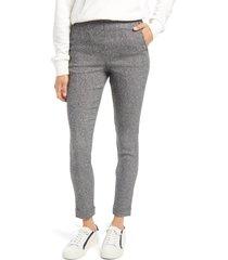women's hue cuff tweed leggings, size large - grey