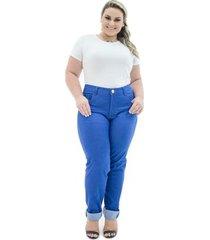 calça confidencial extra jeans cigarrete missy com lycra plus size feminina