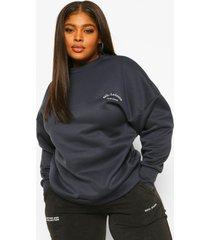 plus geborduurd athleisuire sweater, marineblauw