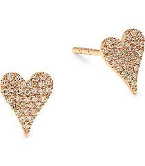 14k rose gold & 0.14 tcw diamond heart stud earrings
