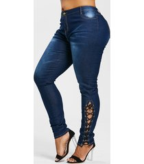 high waist side lace up plus size jeans