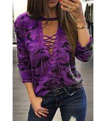 purple camouflage lace-up t-shirt