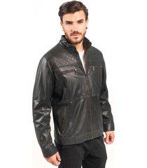 jaqueta de couro np couros com matelassê preto