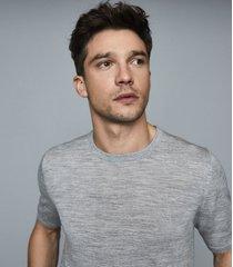 reiss wiltshire - merino crew neck top in soft grey, mens, size xxl
