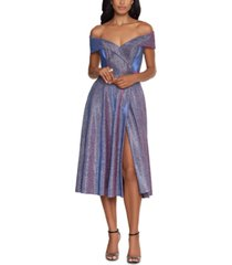 xscape glitter-knit off-the-shoulder dress