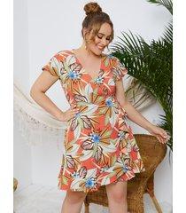 yoins plus talla abrigo tropical con cuello en v diseño mangas cortas con ribete de volantes vestido