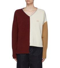 colourblock panel asymmetric hem sweater