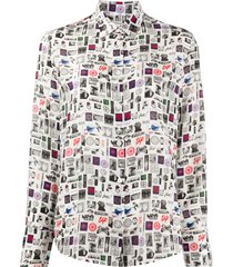 ps paul smith silk patch-work blouse - white