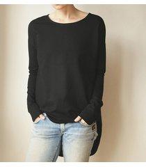 bluza tunika asymetryczna frak okrągły czarna