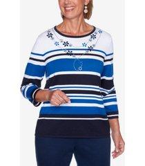 women's missy vacation mode multi-striped sweater
