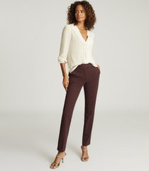 reiss joanne - slim fit tailored trousers in berry, womens, size 12