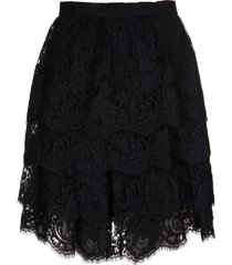 ermanno scervino short skirt with flounces in black lace