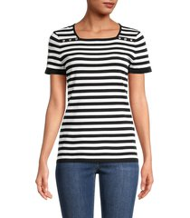 karl lagerfeld paris women's stripe squareneck top - black white - size xs