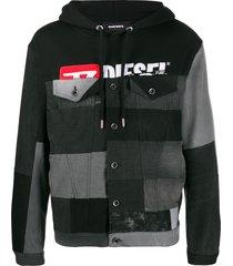 diesel upcycled denim insert hoodie - black