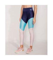 calça legging esportiva ace com recortes azul