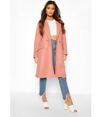getailleerde nepwollen jas, rose