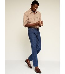 soft tapered-fit jeans met donkere wassing