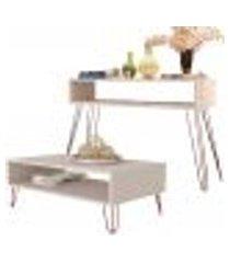 kit aparador com mesa de centro decorativa lara b01 off white pés aramado bronze - lyam decor