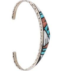 jessie western inlaid embossed bracelet - silver