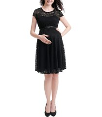 women's kimi and kai lace maternity skater dress, size small - black