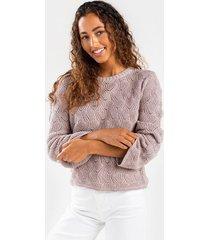 brendai novelty stitch sweater - rose