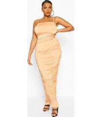 plus square neck ruched midaxi dress, peach