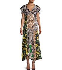 mixed-print maxi silk-blend dress