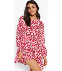 gesmokte bloemenprint jurk met losvallende zoom, red
