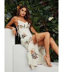 maxi vestido con estampado floral al azar a los lados atados en blanco