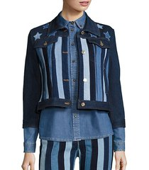 stars & stripes patchwork cropped jacket