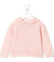 charabia crochet-knit hooded cardigan - pink