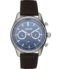 orologio multifunzione con cinturino in pelle marrone, cassa in acciaio silver per uomo