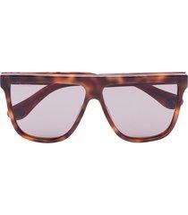 gucci eyewear tortoiseshell straight temple sunglasses - brown
