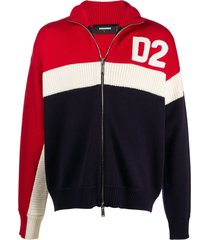 dsquared2 logo-patch zip-up cardigan - blue