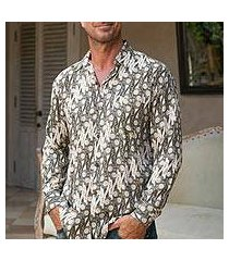 men's rayon long sleeve shirt, 'parang chic' (indonesia)