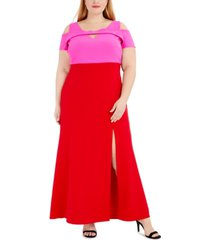 nightway plus size colorblocked cold-shoulder gown