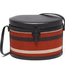 'the round trunk' stripe leather shoulder bag