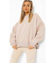 oversized official sweater met split, stone