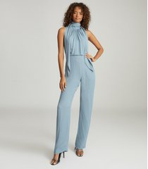 reiss adele - bow detail jumpsuit in pale blue, womens, size 12