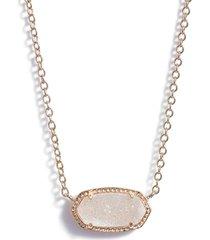 kendra scott elisa pendant necklace in iridescent drusy/rose gold at nordstrom