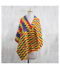 cotton blend kente cloth shawl, 'obaapa' (19 inch width) (ghana)