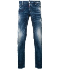 dsquared2 regular distressed trousers - blue