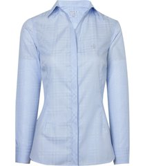 camisa dudalina manga longa tricoline fio tinto decote aberto feminina (listrado, 46)