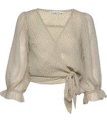 chiffon wrap blouse blouse lange mouwen crème abercrombie & fitch