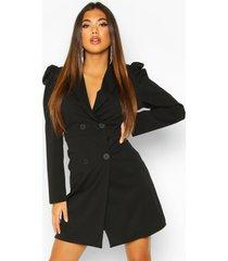 puff shoulder double breasted blazer dress, black