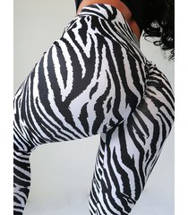 leggings de talle alto con estampado de cebra blanco