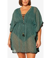 bleu by rod beattie plus size animal-print caftan swim cover-up women's swimsuit