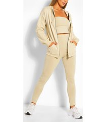 three piece hoodie legging and bandeau set, sand
